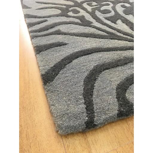Handmade Wool Floral Gray/ Dark Gray 5x8 lt1010 Area Rug