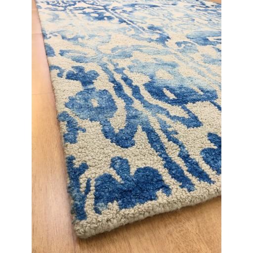 Handmade Wool Floral Ivory/ Blue 5x8 lt1088 Area Rug