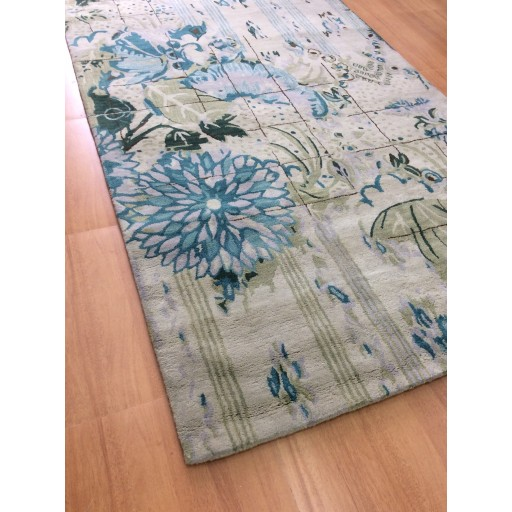 Handmade Wool Floral Green Blue 5x8 Lt1129 Area Rug