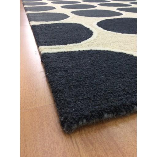 Handmade Wool Modern Ivory/ Black 5x8 lt1164 Area Rug