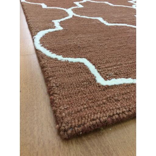 Handmade Wool Modern Rust/ Ivory 5x8 lt1166 Area Rug