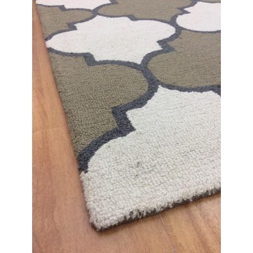 Handmade Wool Modern Ivory/Green 5x8 lt1315 Area Rug