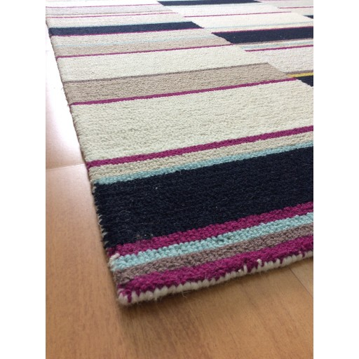 Handmade Wool Modern Ivory/ Navy Blue 5x8 lt1407 Area Rug