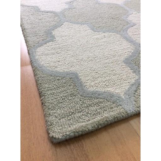 Handmade Wool Modern Ivory/ Green 5x8 lt1460 Area Rug