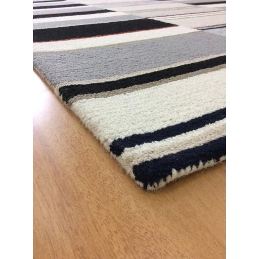 Handmade Wool Modern Ivroy/ Black 5x8 lt1582 Area Rug
