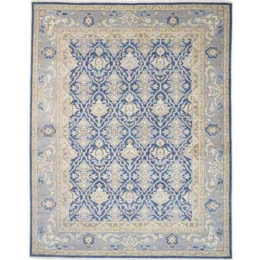 Traditional Hand Knotted Wool Blue 8' x 10' Rug - rh000002