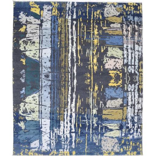 Modern Hand Knotted Wool / Silk Charcoal 8' x 10' Rug - rh000034
