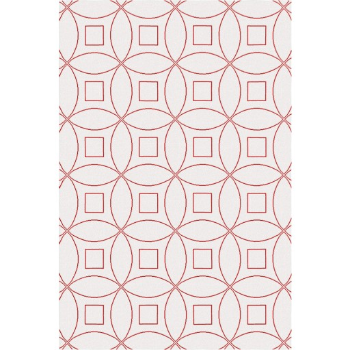 Tanesha TS3002 Oatmeal/Red Contemporary Hand-Tufted Rug