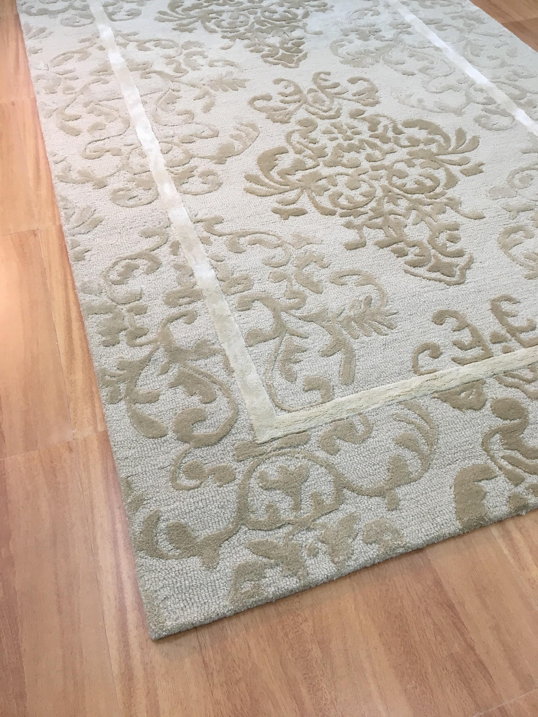 Handmade Wool Viscose Persian Ivory Beige 5x8 Lt1035 Area Rug