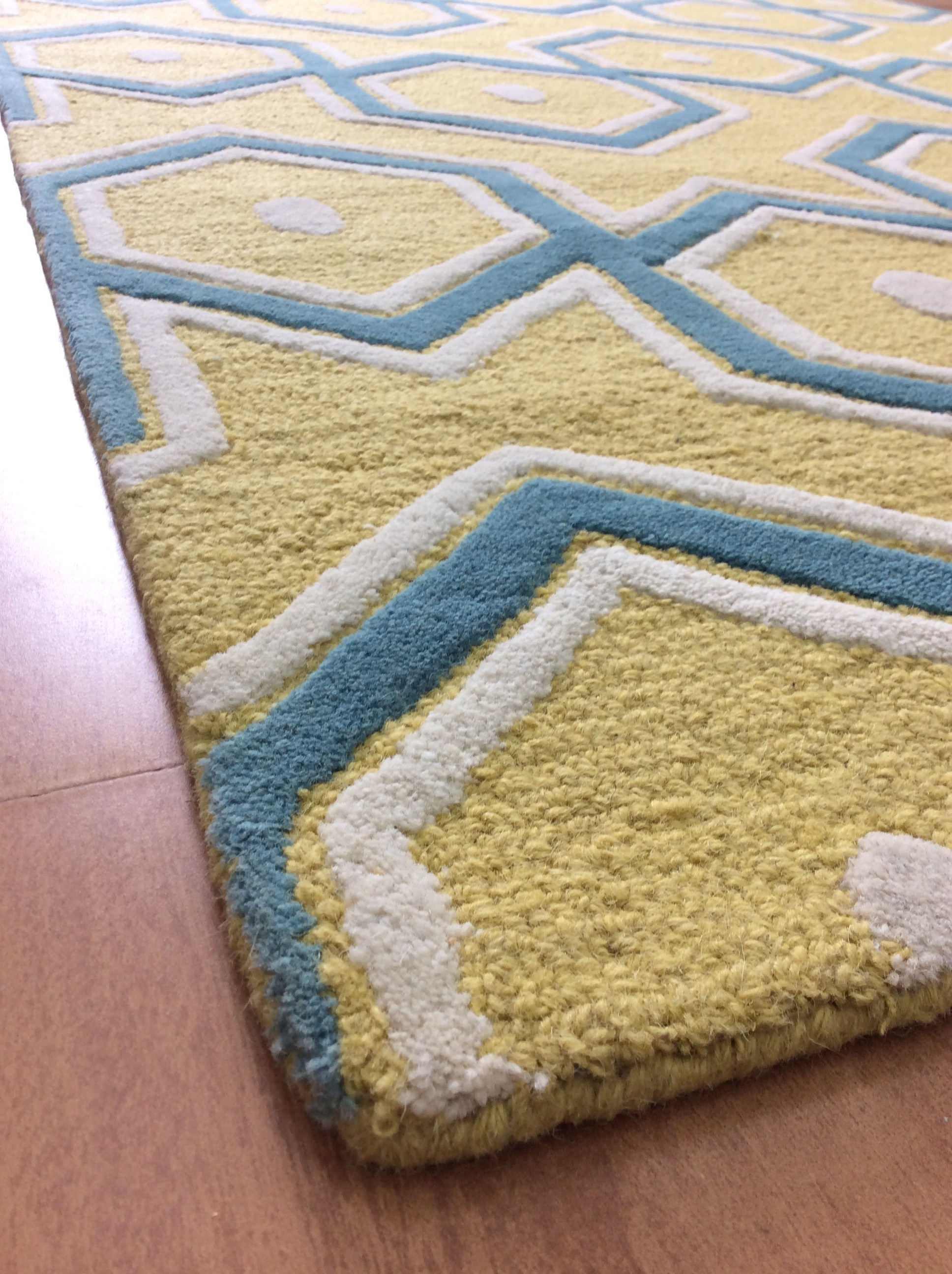 Picture of: Handmade Wool Modern Yellow Blue 5×8 Lt1110 Area Rug