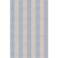 Handmade Silver Light Blue VSAE12BP11 Stripe Rugs 6'X9'