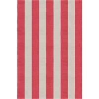 Handmade Silver Red VSAE12AO04 Stripe Rugs 5'X8'