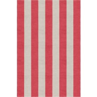 Handmade Silver Red VSAE12AO04 Stripe Rugs 6'X9'