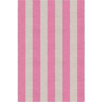 Handmade Silver Pink VSAE12AK07 Stripe Rugs 6'X9'