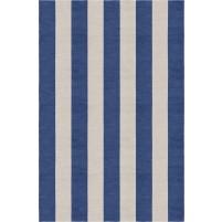 Handmade Silver Navy Blue VSAE12BD08 Stripe Rugs 5'X8'