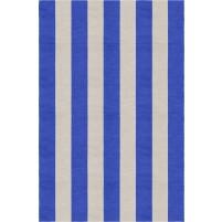 Handmade Silver Blue VSAE12BJ06 Stripe Rugs 6'X9'