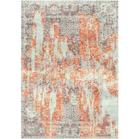 Japonica Orange / Pharlap Grey Silken Modern 8x10 Rug