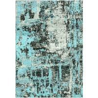 Aqua Blue / Lunar Charcoal Silken Modern 8x10 Rug