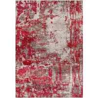 Merlot Red / Zorba Gray Silken Modern 8x10 Rug