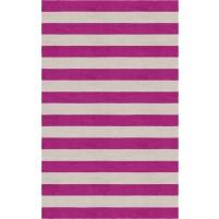 Handmade Silver Magenta HSTR-1003  Stripe Rugs 6' X 9'