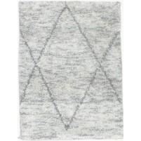 Modern Hand Knotted Wool / Silk Grey 2' x 3' Rug - irfn000032