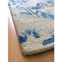 Handmade Wool Floral Ivory/ Blue 5x8 lt1104 Area Rug