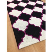 Handmade Wool Modern Black/ Ivory 5x8 lt1171 Area Rug