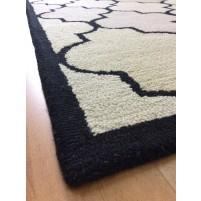 Handmade Wool Modern Black/ Ivory 5x8 lt1202 Area Rug