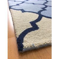 Handmade Wool Modern Blue/ Ivory 5x8 lt1224 Area Rug