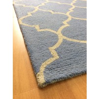 Handmade Wool Modern Blue/ Ivory 5x8 lt1226 Area Rug
