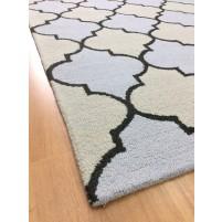 Handmade Wool Modern Beige/L.Blue 5x8 lt1279 Area Rug