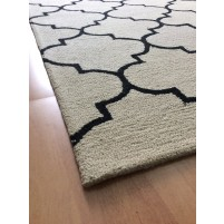 Handmade Wool Modern Beige/ Black 5x8 lt1335 Area Rug