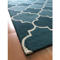 Handmade Wool Modern Blue/ Ivoy 5x8 lt1346 Area Rug