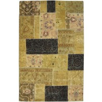 Modern Hand Knotted Wool Gold 5' x 8' Rug - pr000511