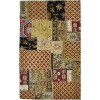 Modern Hand Knotted Wool Red 5' x 8' Rug - pr000512