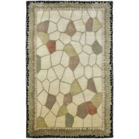 Modern Hand Knotted Wool Ivory 5' x 8' Rug - pr000514