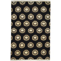 Modern Hand Knotted Wool Charcoal 4' x 6' Rug - pr000516