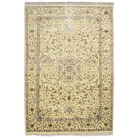 Traditional Hand Knotted Wool / Silk Ivory 4' x 6' Rug - pr000518
