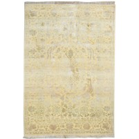 Traditional Hand Knotted Wool / Silk Ivory 4' x 6' Rug - pr000519