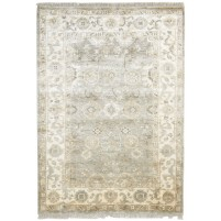 Traditional Hand Knotted Silk Sage 4' x 6' Rug - pr000521