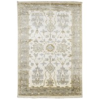 Traditional Hand Knotted Silk Ivory 4' x 6' Rug - pr000530