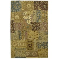 Modern Hand Knotted Wool Gold 6' x 9' Rug - pr000536