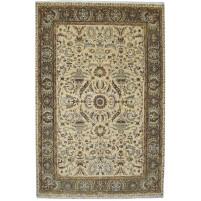 Traditional Hand Knotted Wool Ivory 6' x 9' Rug - pr000537