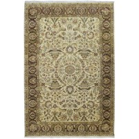 Traditional Hand Knotted Wool Ivory 6' x 9' Rug - pr000538