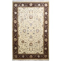 Traditional Hand Knotted Wool / Silk Ivory 6' x 9' Rug - pr000539