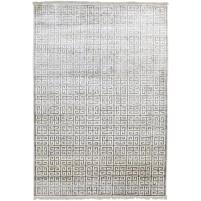 Modern Hand Knotted Silk Grey 6' x 9' Rug - pr000540