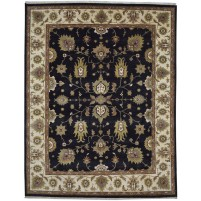 Traditional Hand Knotted Wool Black 8' x 9' Rug - pr000562