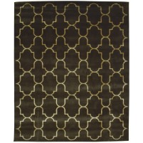 Modern Hand Knotted Wool / Silk Charcoal 8' x 10' Rug - pr000563
