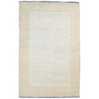 Modern Hand Knotted Wool Ivory 5' x 8' Rug - pr000670