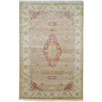 Traditional Hand Knotted Wool Beige 6' x 9' Rug - pr000737